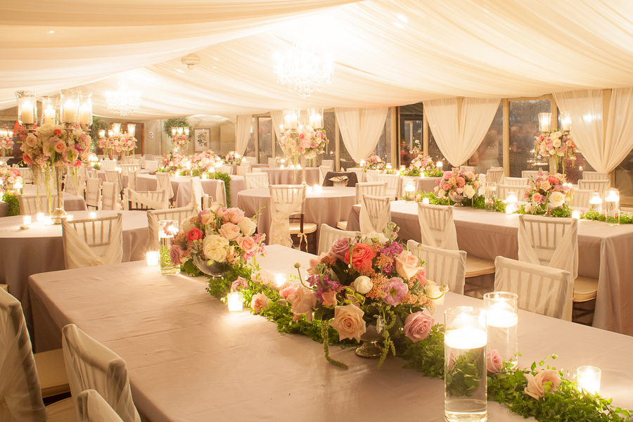 Pink Middleton Place Wedding Reception decor with ceiling draping