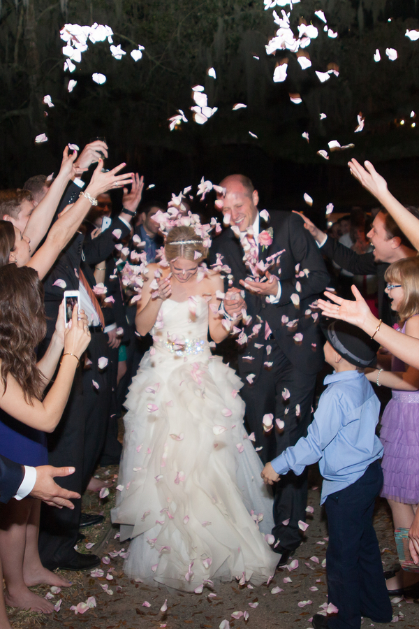 Charleston wedding rose petal exit