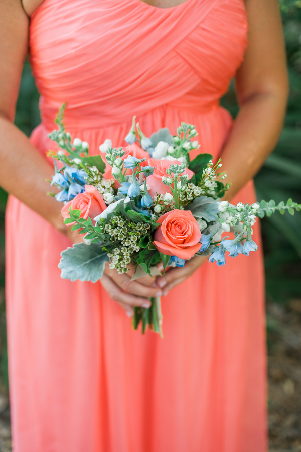 Charleston wedding coral bridesmaids dreses at Creek Club at I'On by Alyona Photography