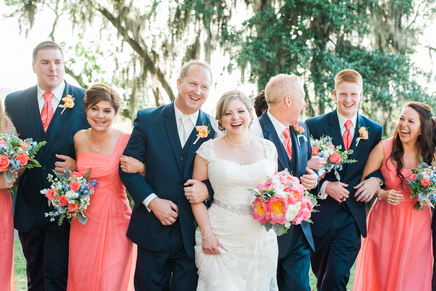 cf3622112995 Navy and Coral Charleston Wedding at Creek Club at I'On — A ...