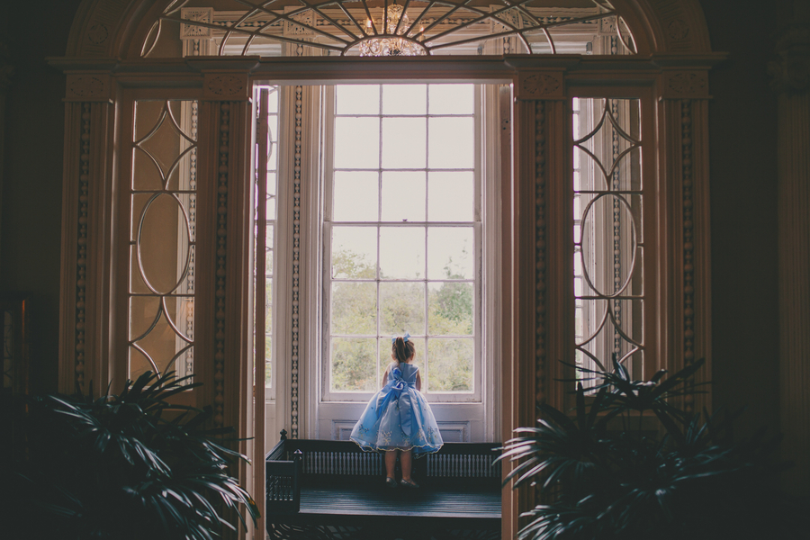 Flowergirl in Blue dress at Thomas Bennett House wedding by Hyer Images