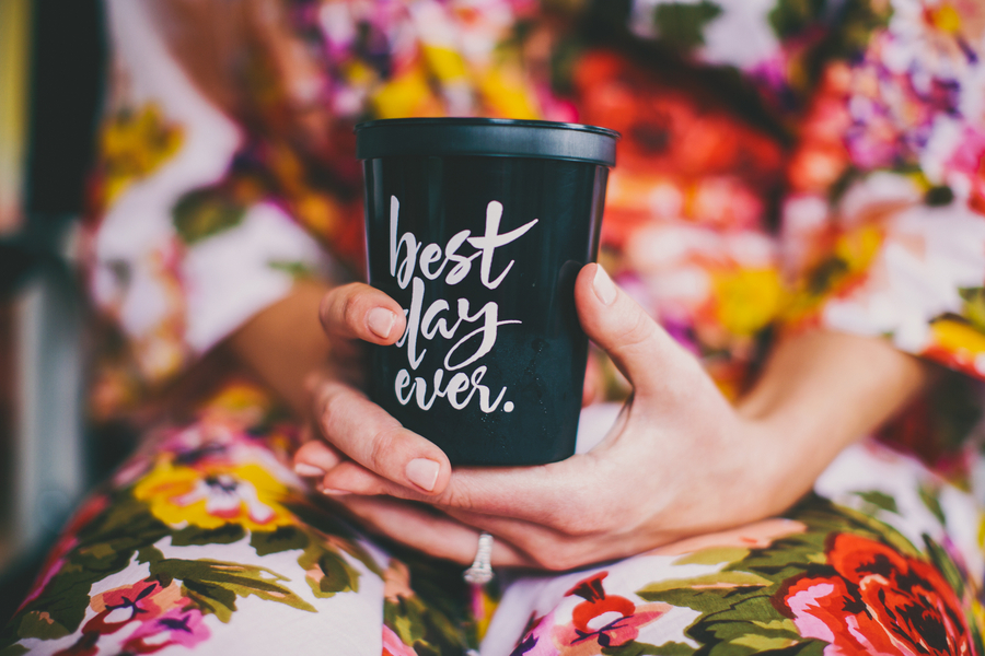 Best Day Ever Plastic cup at Thomas Bennett House wedding by Hyer Images
