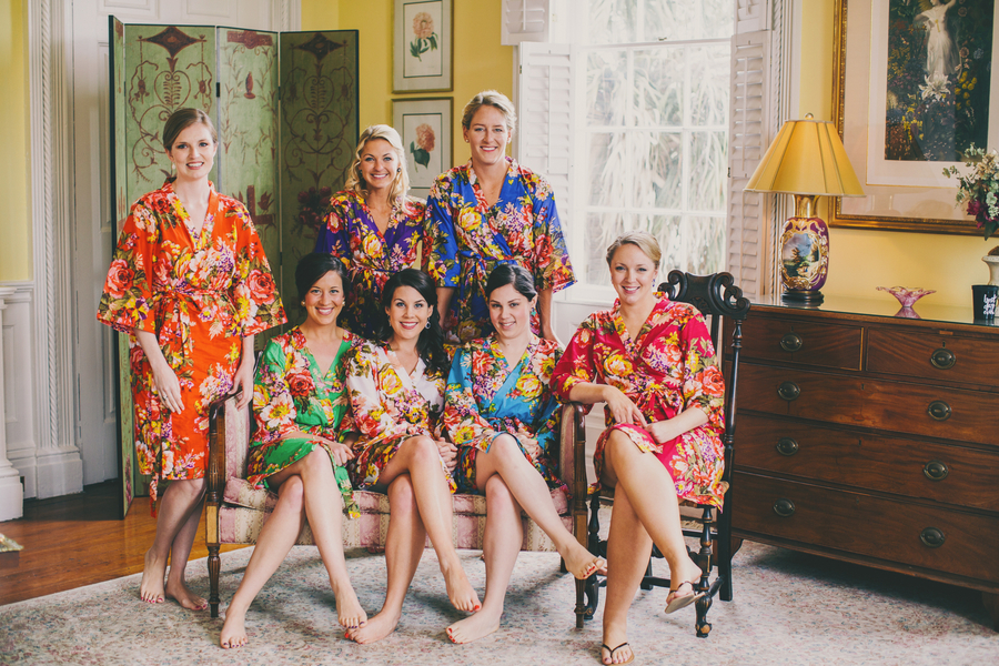 Bridesmaids Robes at Thomas Bennett House wedding by Hyer Images