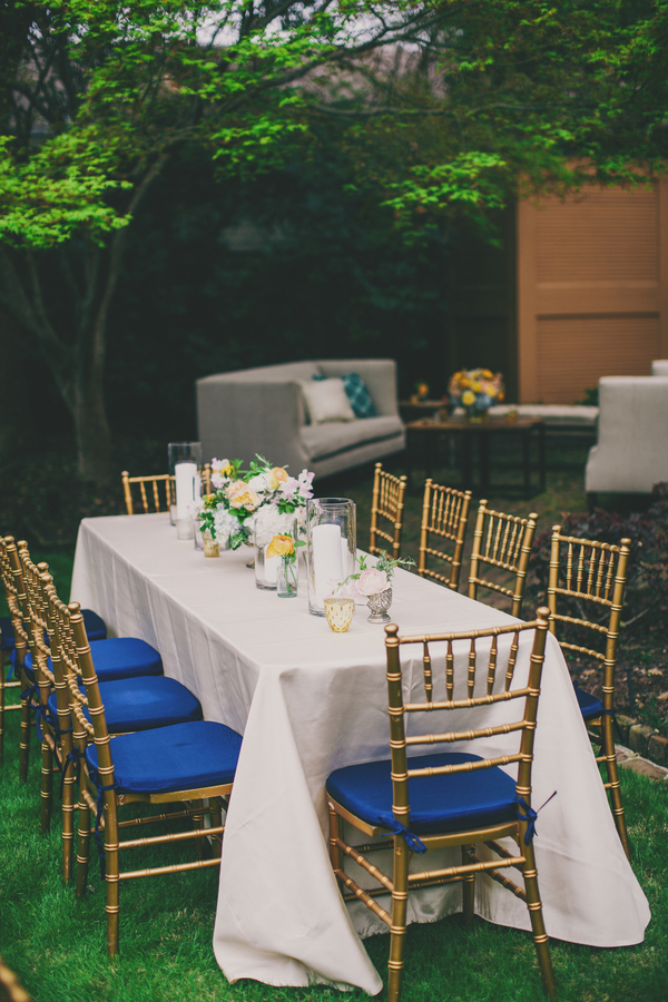 Royal Blue Charleston wedding decor at Thomas Bennett House by Mingle