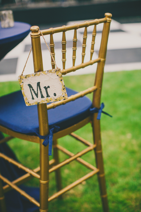 Gold Chivari Chair and Royal Blue pad at Thomas Bennett House wedding in Charleston, SC by Mingle