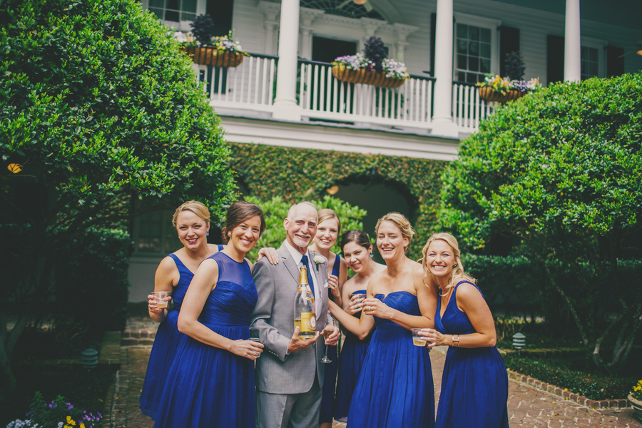 Royal blue bridesmaids dresses at Thomas Bennett House wedding by Mingle