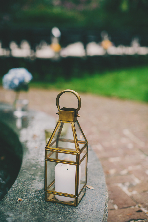 Gold lanterns at the Thomas Bennett House wedding by Hyer Images