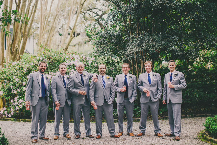 Groomsmen in grey suits at Charleston wedding ceremony at the Thomas Bennett House by Hyer Images