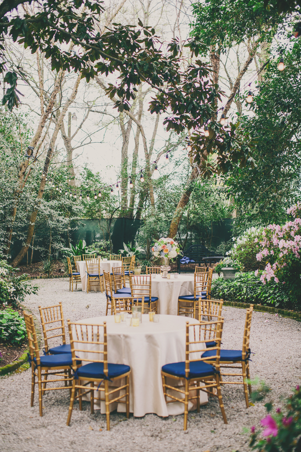 Royal blue & Gold Thomas Bennett House wedding in Charleston, Sc by Hyer Images