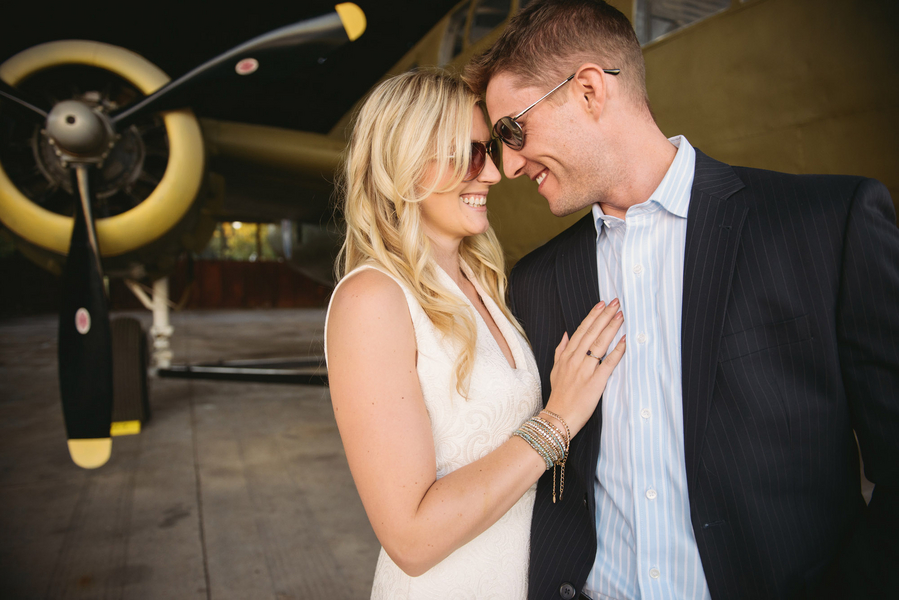 Savannah wedding engagement at The Curtiss-Wright Hanger