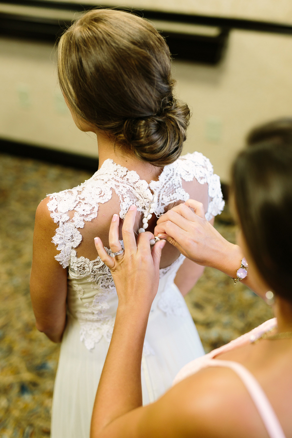 Myrtle Beach lace wedding dress by One Life Photography