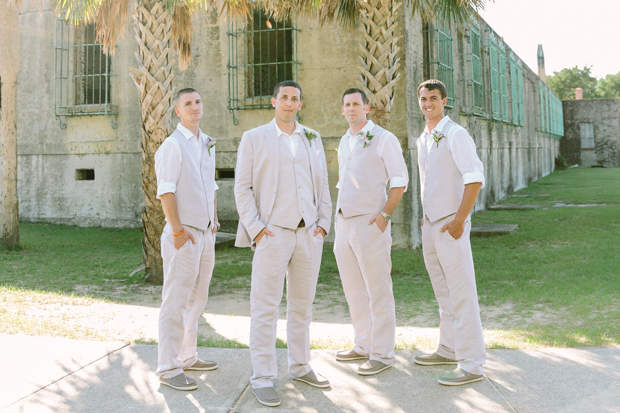 Groomsmen in tan suits during Summer wedding in Myrtle Beach, SC