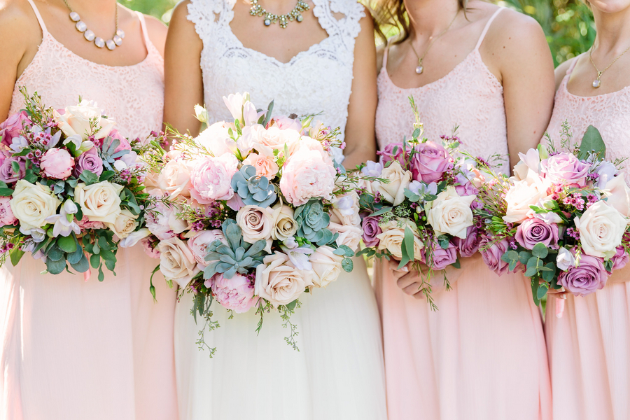 Pink Bouquets with Succulents at Myrtle Beach wedding