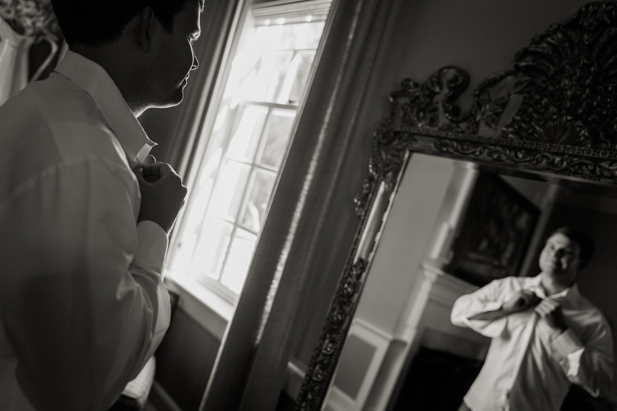 Groom getting ready for Charleston wedding