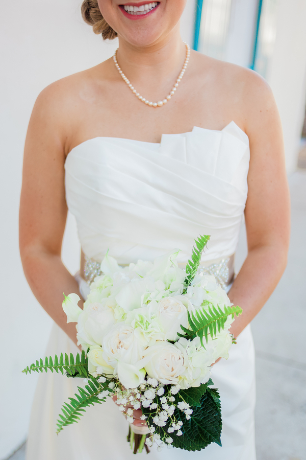 White Charleston wedding bouquet