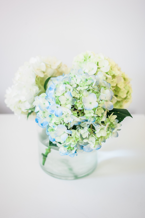 Blue Hydrangeas Charleston wedding centerpieces