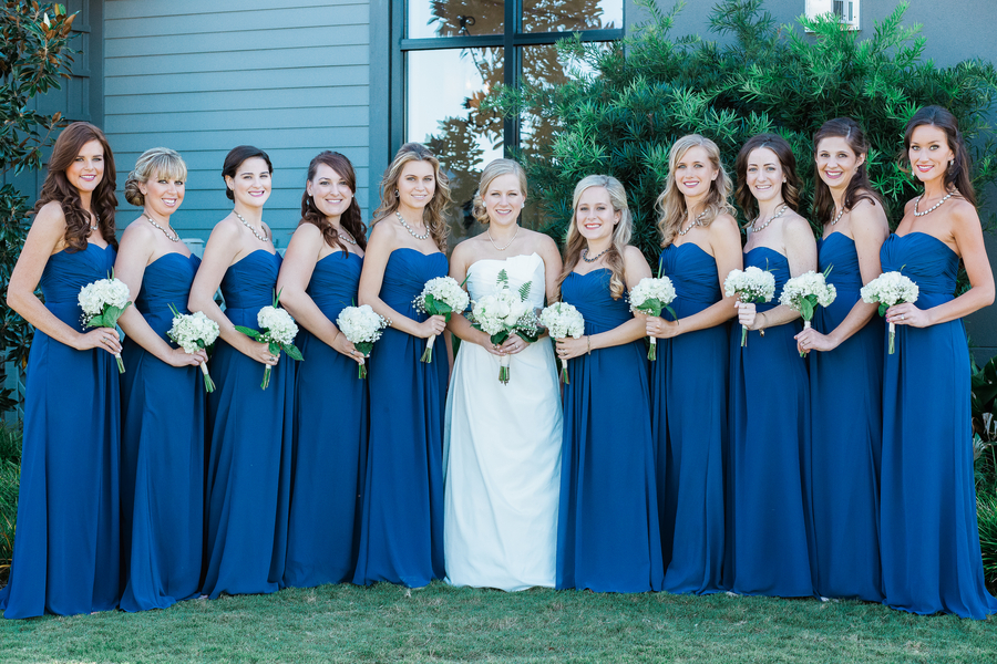 Blue bridesmaids dresses at Cooper River Room wedding