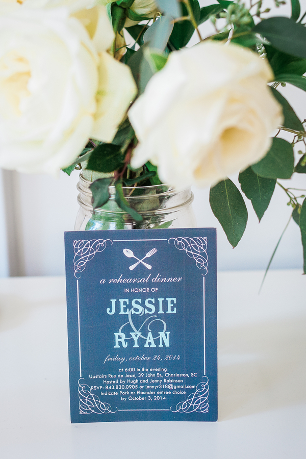 Blue Charleston wedding invitations
