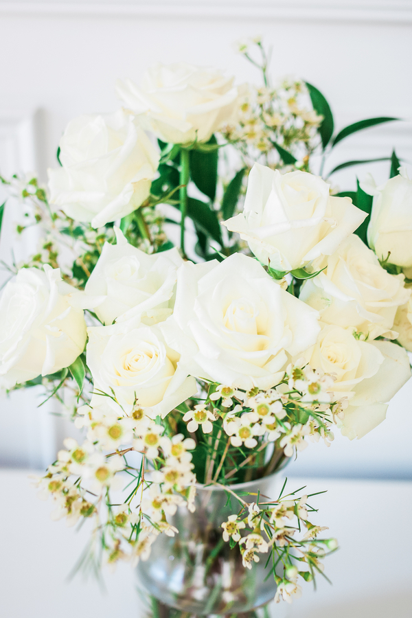 White rose centerpiece at Charleston wedding