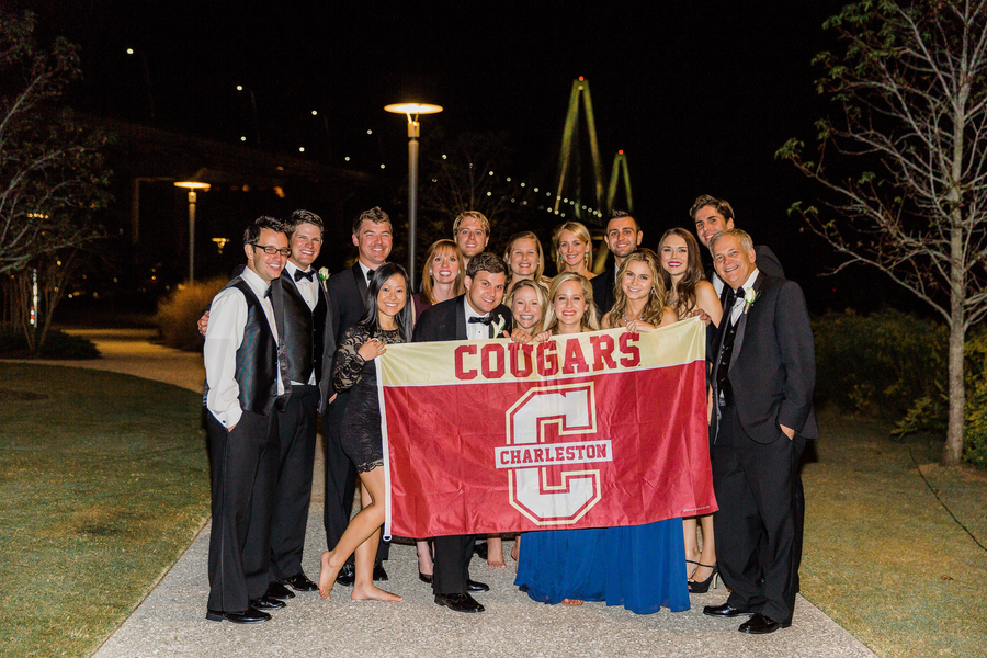 College of Charleston grads at Cooper River Room wedding by Judy Nunez Photography