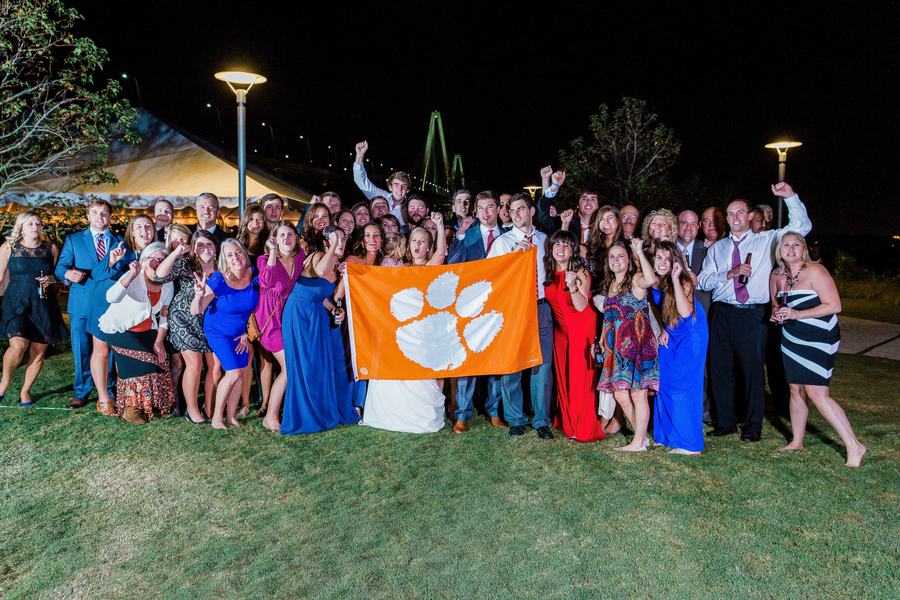 Clemson college grads at Charleston wedding