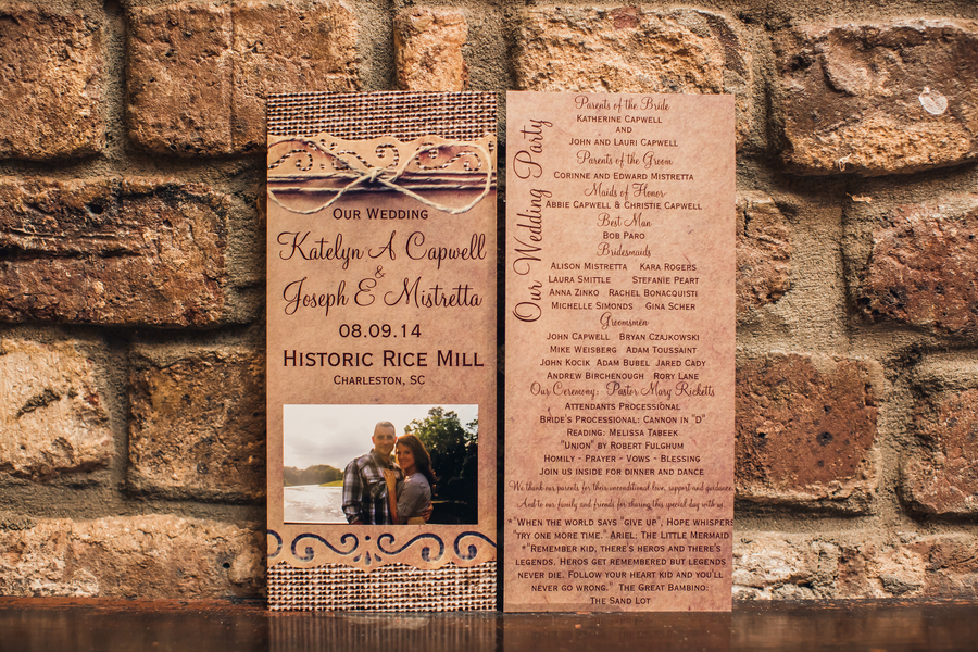 Rustic Charleston wedding invitations at Historic Rice Mill Building