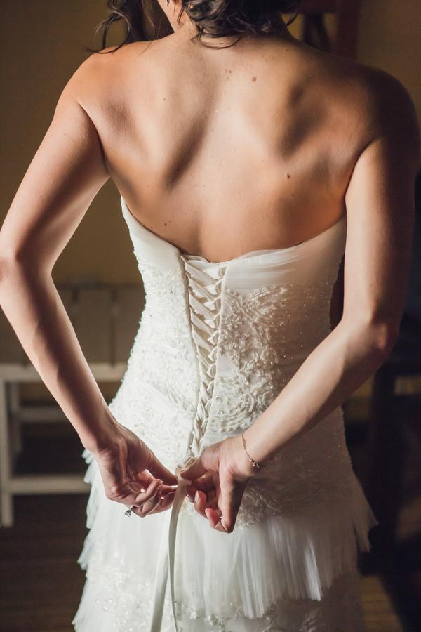 Charleston wedding dress at Historic Rice Mill Building