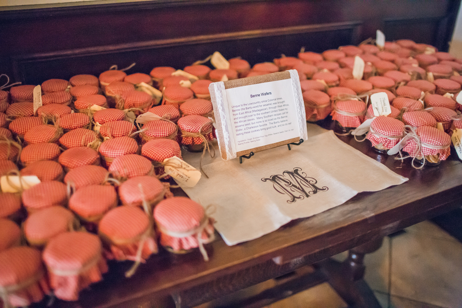 Rustic jam jars for Charleston wedding favors at Historic Rice Mill Building