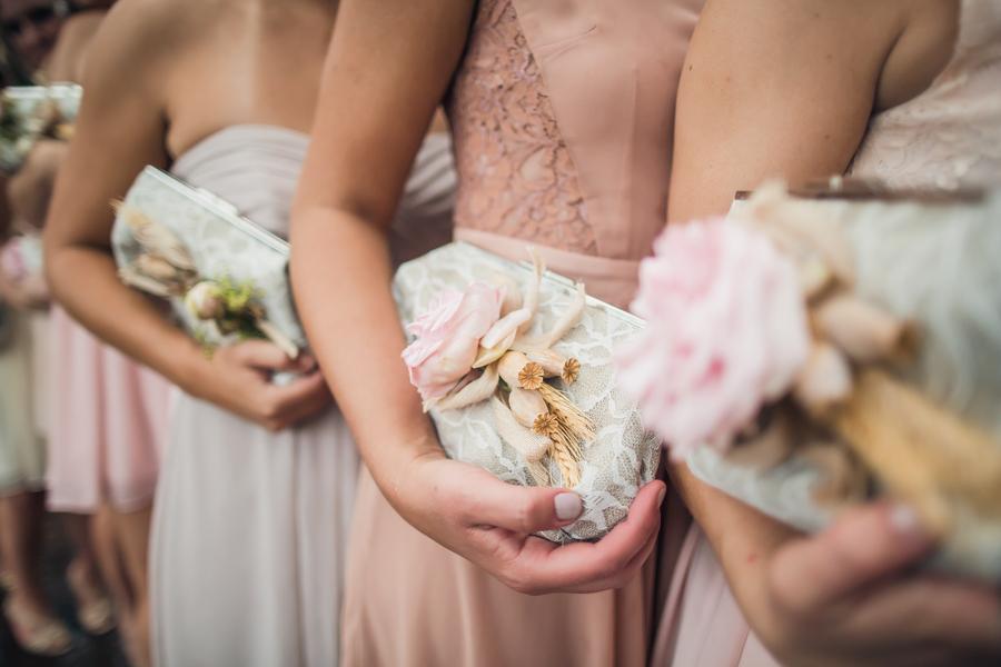Custom bridesmaids purses at Charleston wedding at Historic Rice Mill Building
