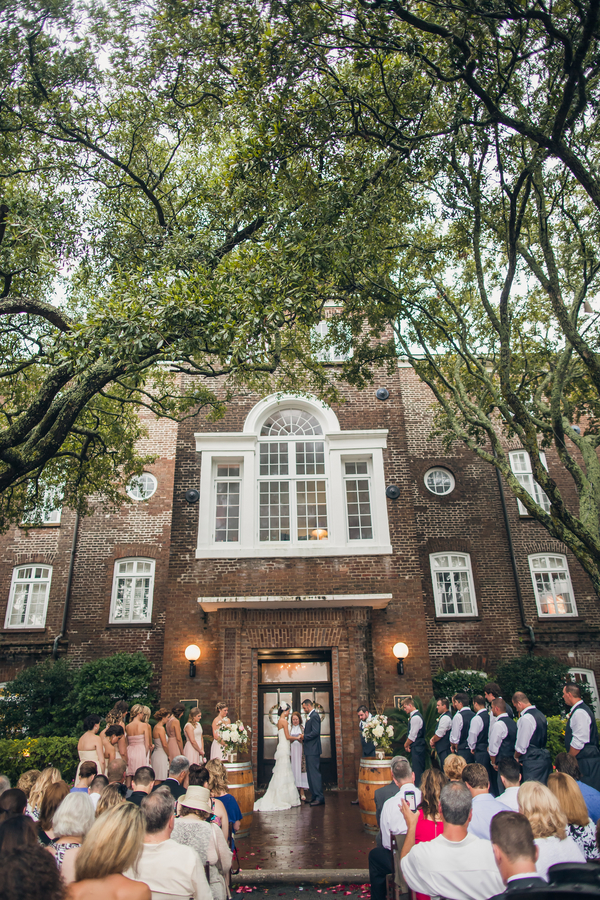 Outdoor Rice Mill wedding ceremony in Charleston, SC by Richard Bell Photography