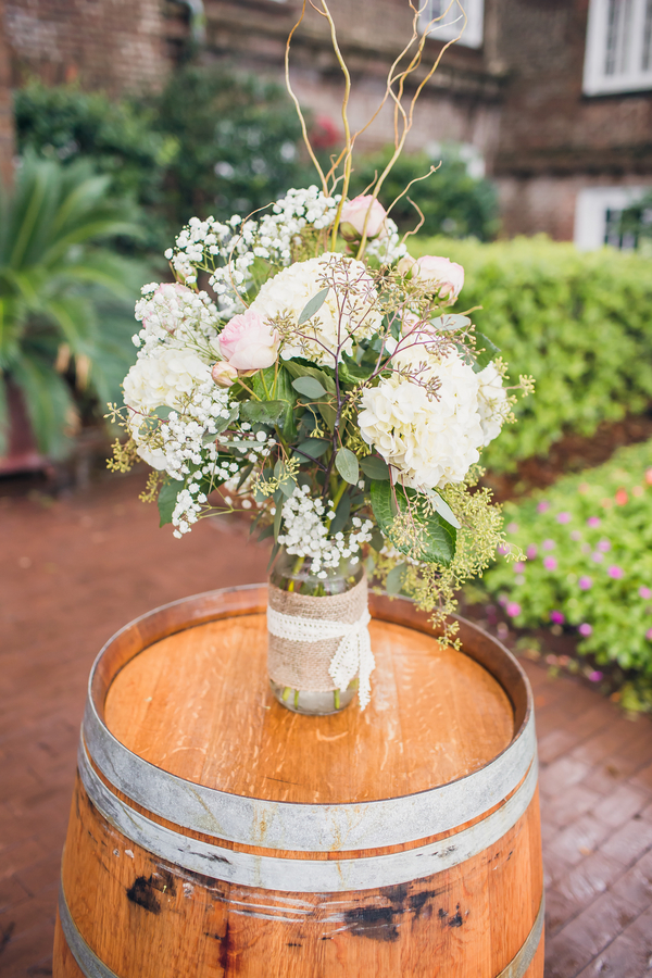 Wine Barrels at Charleston wedding ceremony at Historic Rice Mill Building