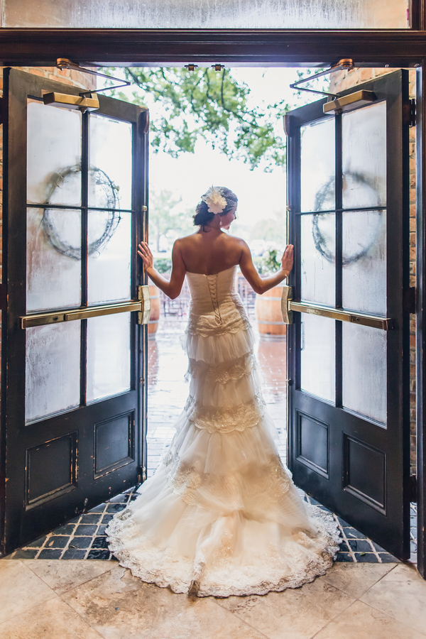 Charleston wedding dress at Historic Rice Mill Building by Richard Bell Photography