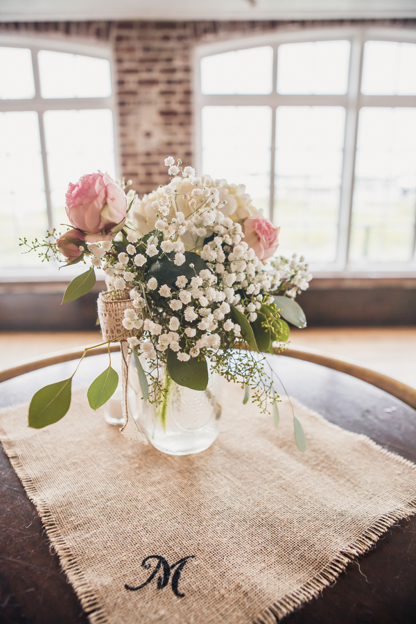 Burlap and lace Charleston wedding centerpieces by Anna Bella Florals at Historic Rice Mill Building by Richard Bell Photography
