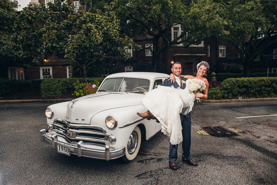 vintage Charleston wedding transportation at Historic Rice Mill Building by Richard Bell Photography