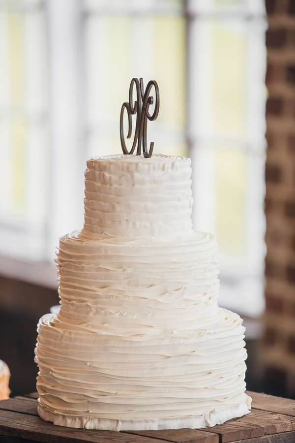 Charleston wedding cake at Historic Rice Mill Building by Richard Bell Photography