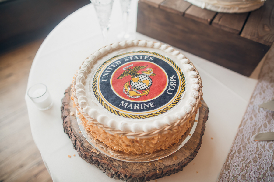 Marines Groom's Cake at Charleston wedding at Historic Rice Mill Building by Richard Bell Photography
