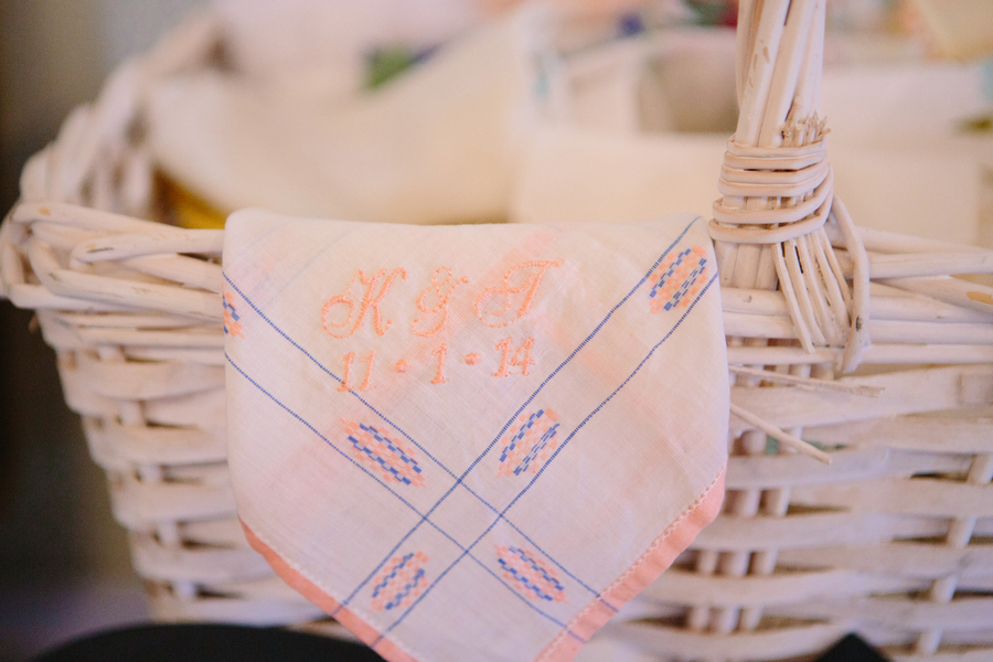 Embroidered handkerchief at Charleston Yacht Club wedding by Stacy Howell Photography