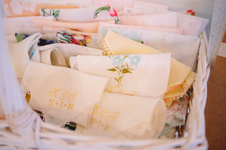Embroidered handkerchieves at Wedding in Charleston, SC at Charleston Yacht Club by Stacy Howell Photography