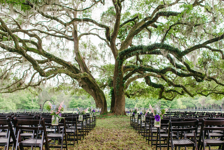 Purple Charleston Wedding Ceremony at Boone Hall Plantation by Riverland Studios