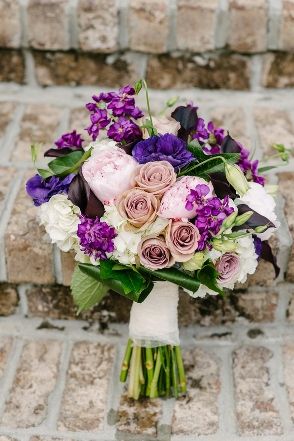 Purple Bouquet at Boone Hall Plantation wedding by Riverland Studios