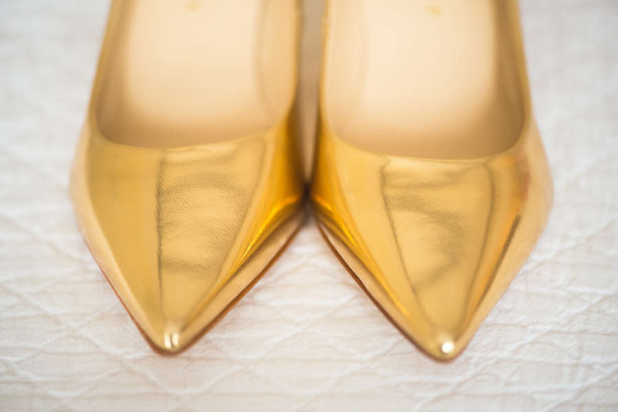 Gold shoes at Peach Charleston Wedding at McCrady's Restaurant by Priscilla Thomas Photography