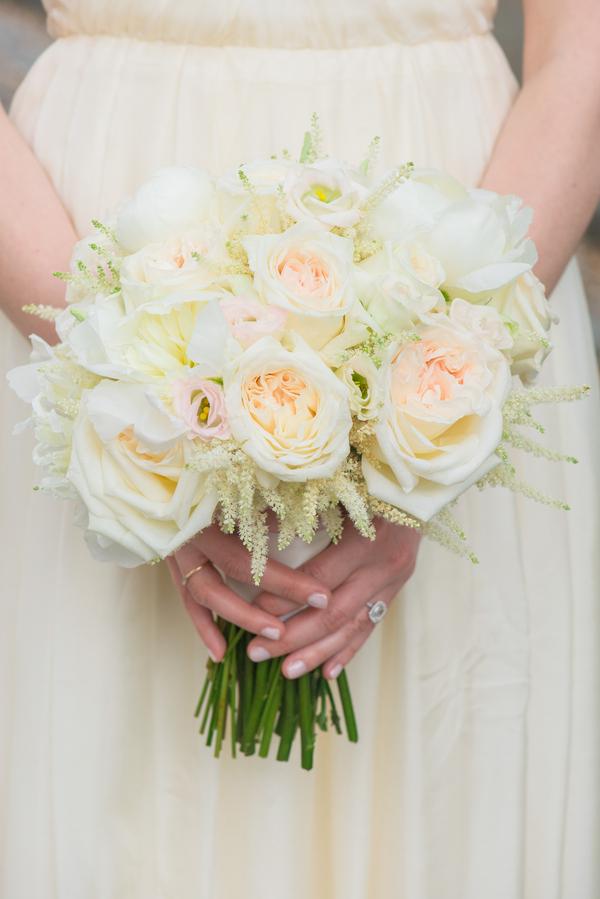 Peach Charleston Wedding Bouquet at McCrady's Restaurant by Priscilla Thomas Photography
