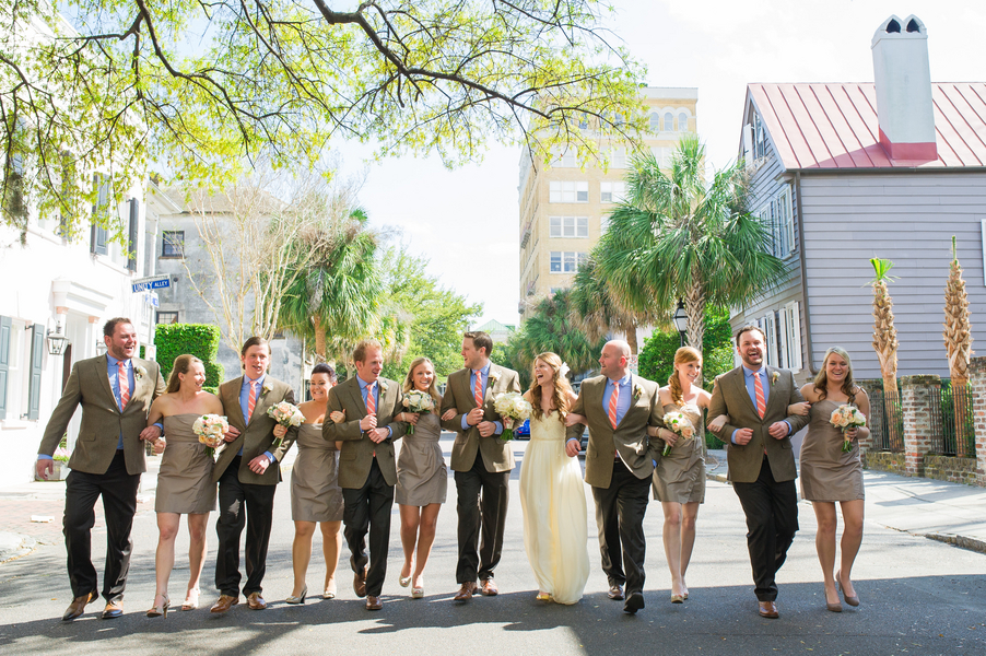 Peach Charleston Wedding at McCrady's Restaurant by Priscilla Thomas Photography