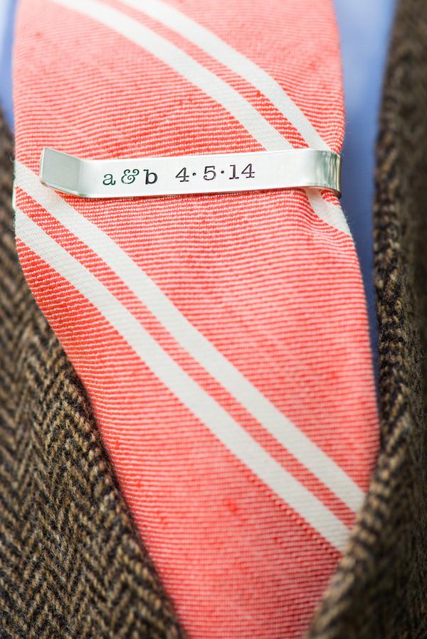 Peach Charleston Wedding Tie at McCrady's Restaurant by Priscilla Thomas Photography