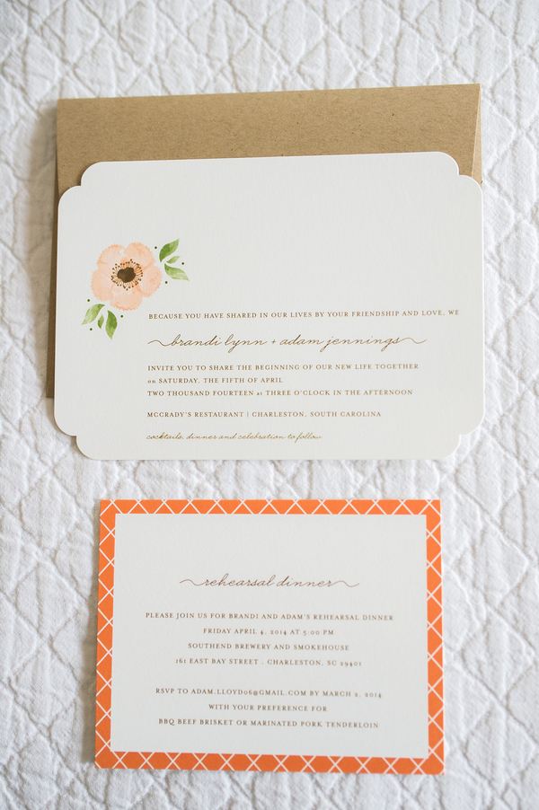 Peach Charleston Wedding Invitations at McCrady's Restaurant by Priscilla Thomas Photography