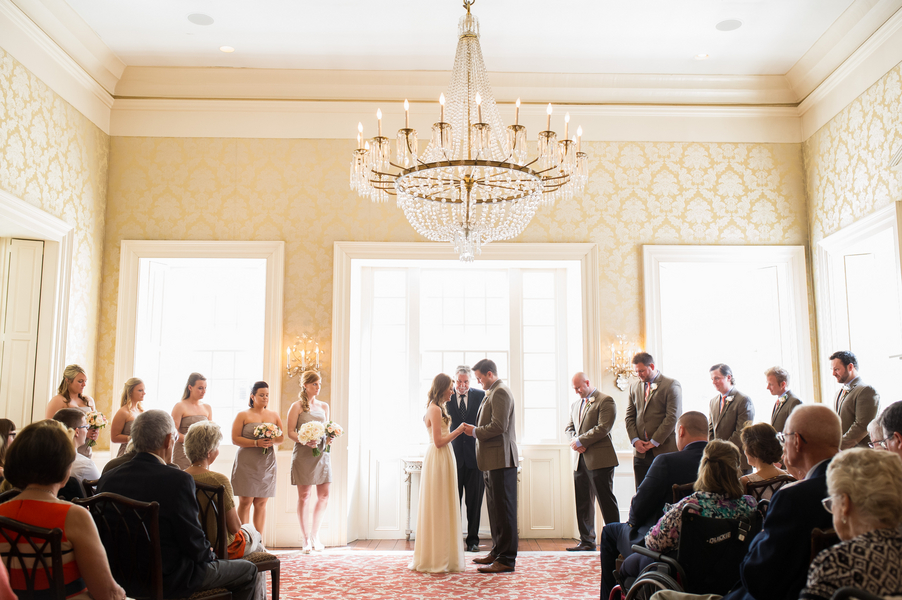Peach + Gold Charleston Wedding Ceremony at McCrady's Restaurant by Priscilla Thomas Photography