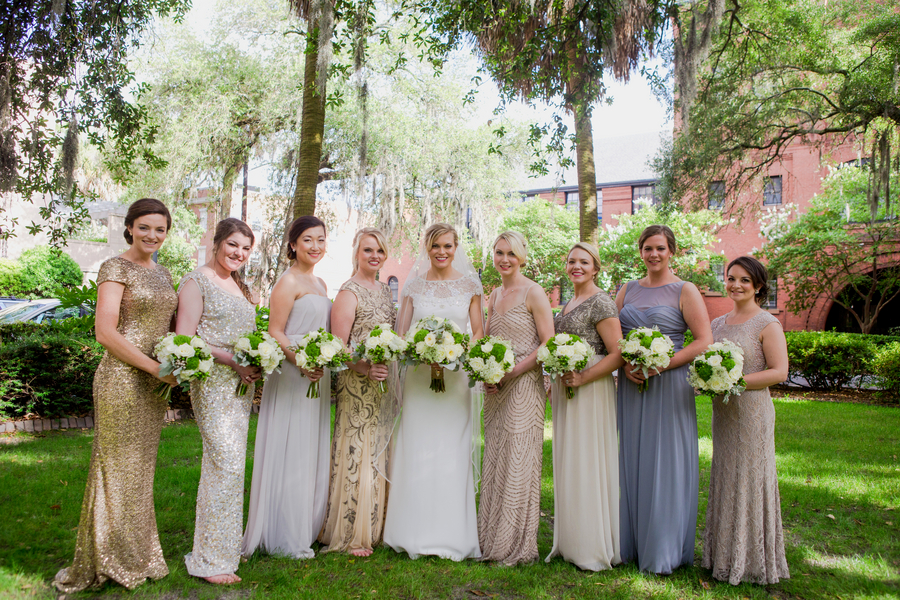 Metallic Bridesmaids dresses at Savannah Wedding