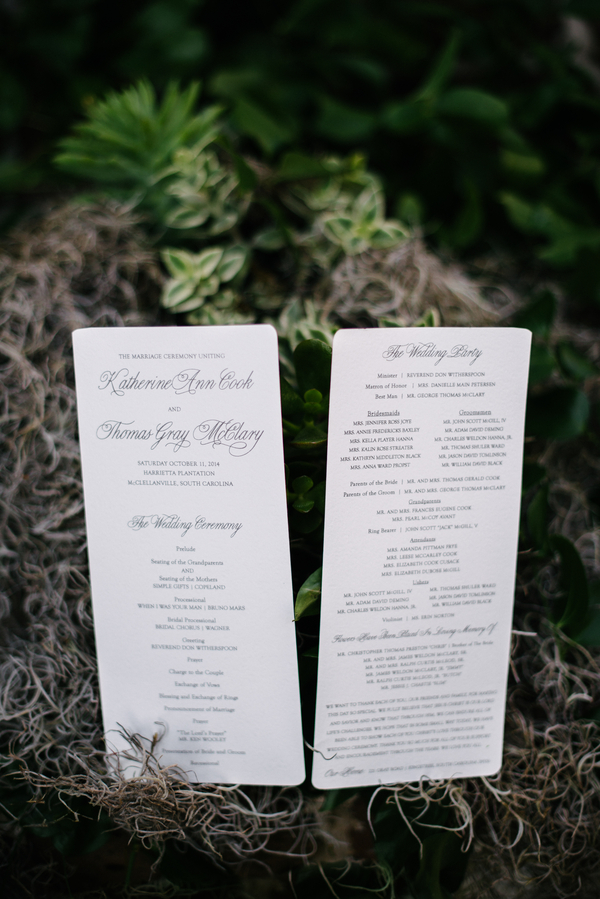 Harrietta Plantation wedding Invitations in McClellanville, SC by Riverland Studios