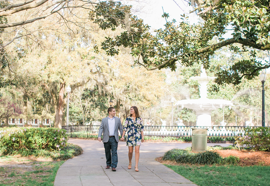 Katie + Ramsey's Forsyth Park Engagement in Downtown Savannah
