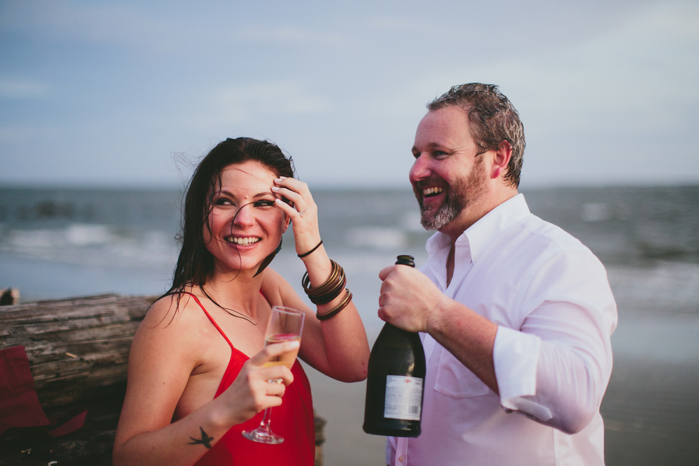 Whitney + Talbert's Charleston Beach engagement by Angela Cox Photography